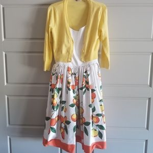 Pinup Couture Oranges Border Jenny w/Cardigan XL